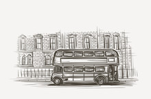 Old London Bus Double Decker Hand Drawn Illustration. Vector.