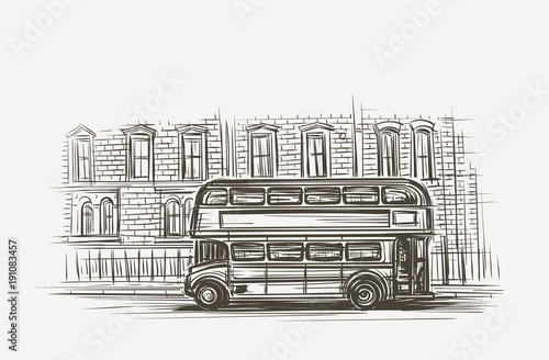 фотография Old london bus double decker hand drawn illustration. Vector.