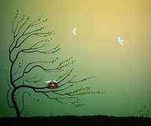 Tree With Nest And Flock Of Blue Birds Flying, Return To The Nature Home Idea, Spring Nesting,