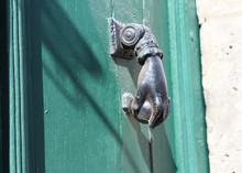 Iron Hand Old Metal Door Knocker