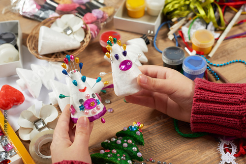 Vászonkép Child make crafts and toys, handmade concept