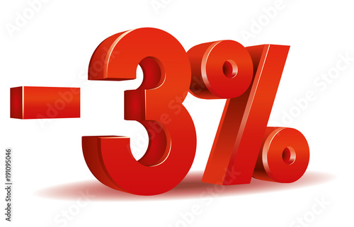 Fotomural  illustration vector in red color of 3 percent isolated in white background