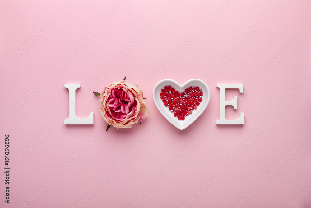 Fototapeta Valentines day concept with love letters on pink background