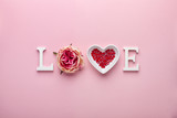 Valentines day concept with love letters on pink background