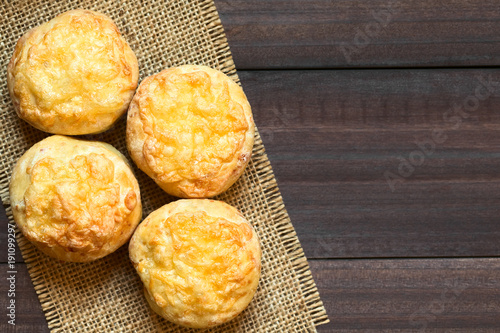 Fotomural Hungarian traditional Cheese Pogacsa savory baked bread-like pastry, photographe