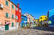 Colourfully painted house facade on Burano island,Venice, Italy