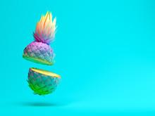 Multicolor Slice Pineapple On Blue Background 3D Rendering