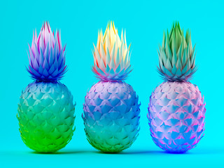 Fototapeta Owoce Multicolor pineapples on blue background 3D rendering