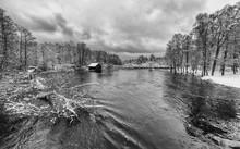 Dramatic Swedish River View In Winter Season