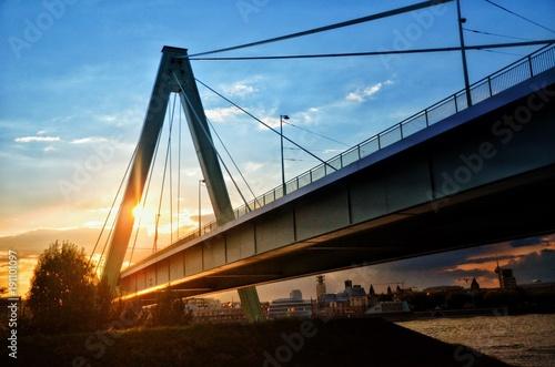 Tuinposter Art Studio Cologne bridge at sunset