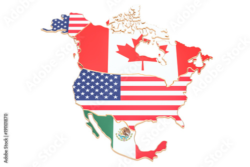 north america map with flags of the usa canada and mexico 3d rendering