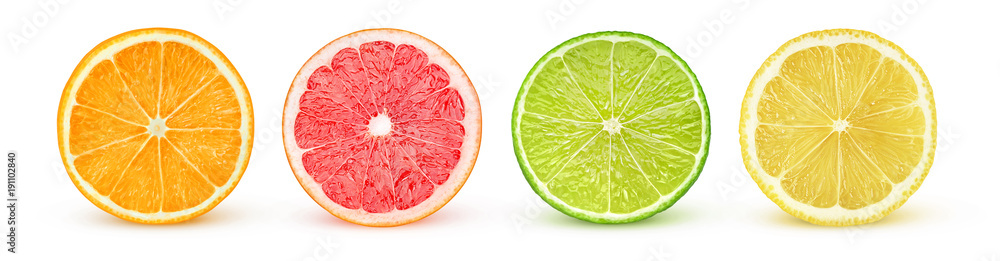 Isolated citrus slices. Fresh fruits cut in half (orange, pink grapefruit, lime, lemon) in a row isolated on white background with clipping path
