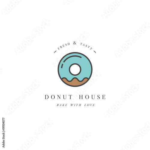 Vector Design Template And Emblem Donut Icon For Bakery Shop