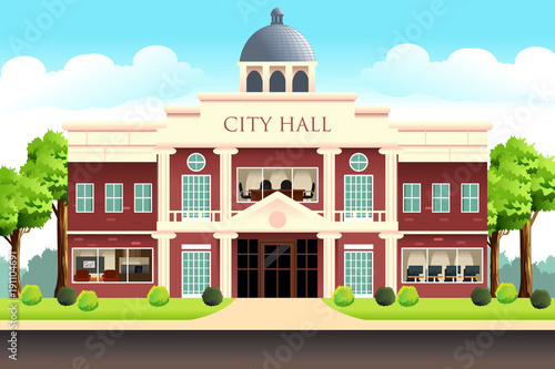 Cuadros en Lienzo City Hall Building Illustration