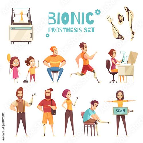 Fotografie, Obraz  Bionic Prothesis Cartoon Icons Set
