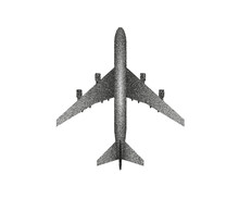 Vector Plane Silhouette In Stipplism Dots Style Black White Top View