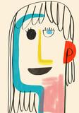 Kolorowa ilustracja matka dzień. Koncepcyjna i minimalistyczna ilustracja dziecięcego stylu i jasnych kolorów idealnych na Dzień Matki. - 191107843
