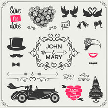 Vector Set Of Wedding Icons An...