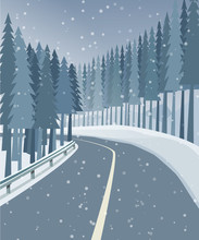 Winter Landscape With Forest, Snow And Road