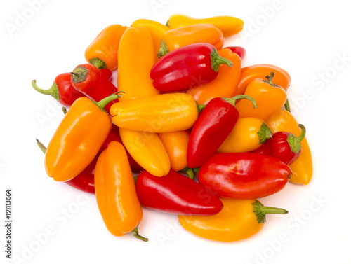 Fotografia Small Sweet Peppers Isolated on a White Background