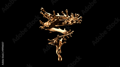 Obraz Luxurious, mysterious, vintage, abstract splash of liquid gold on a black background. 3d illustration, 3d rendering. - fototapety do salonu