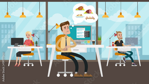 Hungry businessman at office. Fototapet