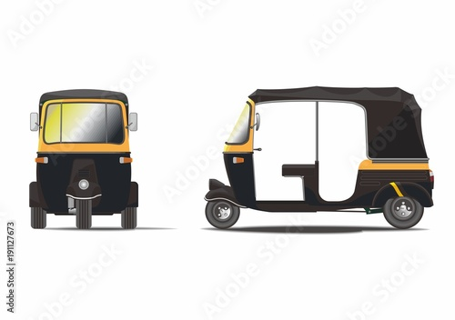 Classic black rickshaw vector Tablou Canvas