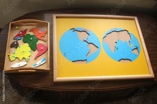 montessori continents puzzle Poster