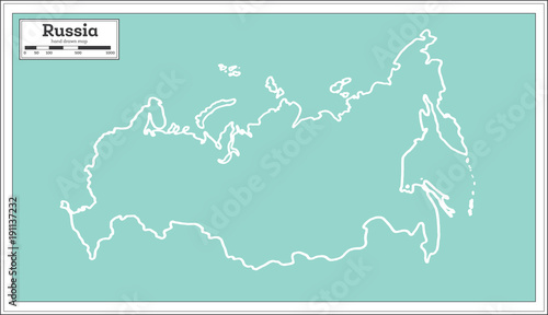 Fotografie, Tablou Russia Map in Retro Style. Outline Map.