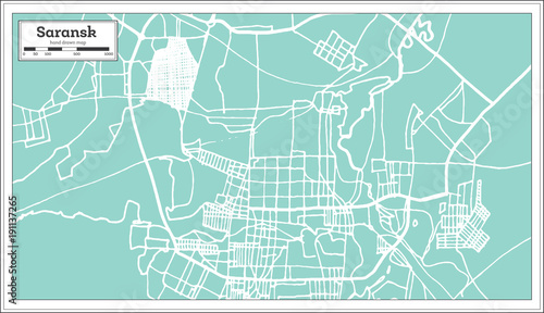 Fotografie, Tablou Saransk Russia City Map in Retro Style. Outline Map.