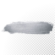 Silver Glitter Paint Brush Stroke Or Abstract Dab Smear With Smudge Texture On Transparent Background. Vector Isolated Glittering And Sparkling Silver Paint Paintbrush Splash Stain For Luxury Design