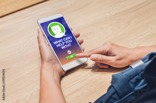 People ask chat bot function in mobile app .looking for customer support online shopping shopping. digital marketing concept,artificial intelligence (ai) system.