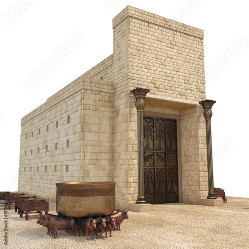 Poster Bedehuis King Solomon's temple with large basin call Brazen Sea and bronze altar on white. 3D illustration