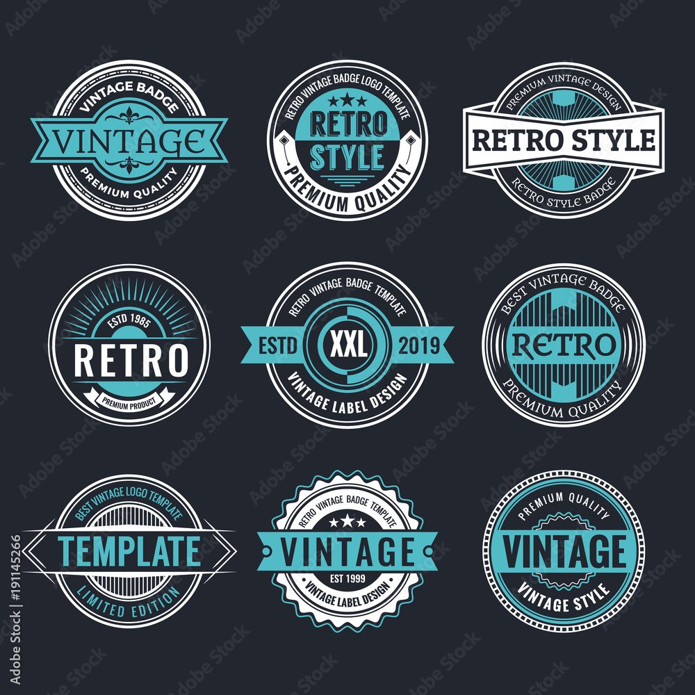 Fototapety, obrazy: Circle Vintage and Retro Badge Design Collection
