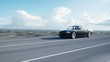 Black luxury car on road, highway. Daylight. Very fast driving. Realistic 4k animation.