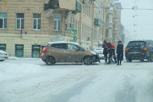 Collision Of Cars At The Snow-...