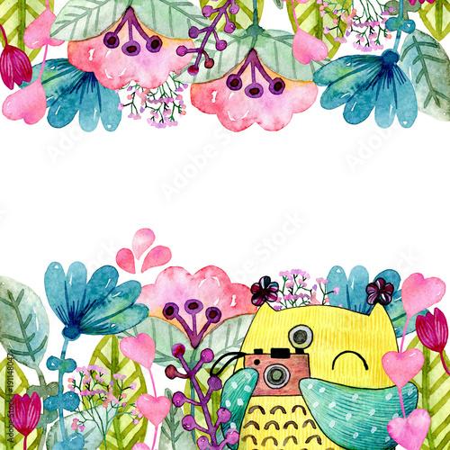 akwareli-smieszna-ilustracja-z-sowa-i-kwiatami