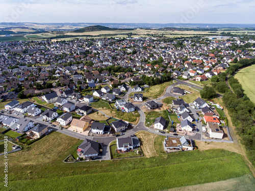 Keuken foto achterwand San Francisco Aerial view of surroundings and village of Ochtendung in Germany on a sunny summer day with blue sky