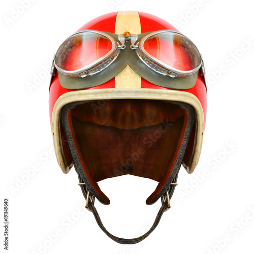 Fotobehang Motorsport Retro helmet with goggles on a white background. Protective headwear for motorcycle and automobile race.