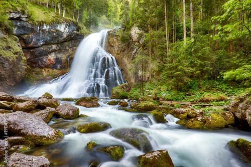 Foto op Canvas Watervallen Waterfall with mossy rocks in Golling, Austria