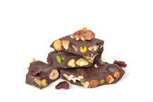 Dark Chocolate Bark With Mixed Nuts On White Background - Isolated