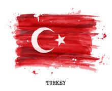 Watercolor Painting Flag Of Tu...