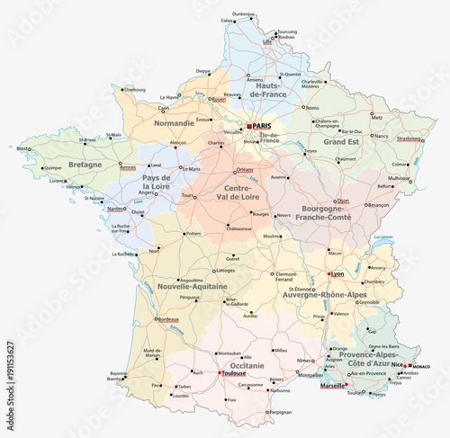 Obraz france road, administrative and political vector map - fototapety do salonu