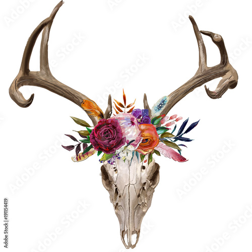 Poster de jardin Crâne aquarelle deer skull with floral wreath