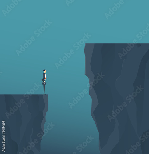 Fotografie, Tablou flat vector concept businessman standing on mountain cliff ,and business obstacl