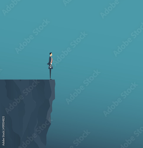 Tablou Canvas flat vector concept businessman standing on mountain cliff ,and business obstacl