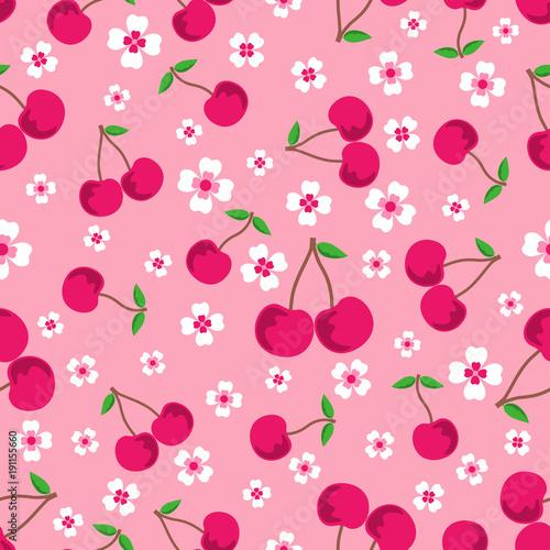 wzor-z-wisniami-i-kwiatami