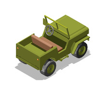Army Jeep Model 3D Low Poly Gr...