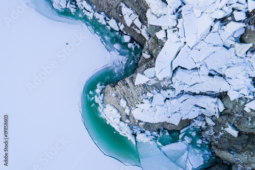 Fotomural Thaw lake, blocks of ice and turquoise water