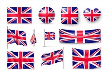 Set United Kingdom Flags, Bann...